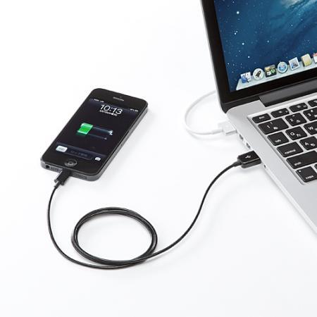 Lightningケーブル 1m iPhone7/7 Plus 6s/6s Plus対応 MFI認証品 充電同期 ブラック