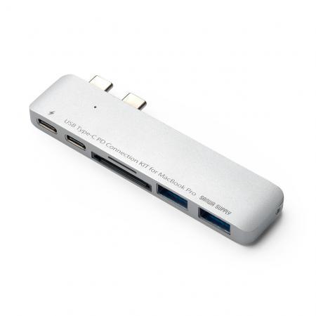 MacBook Pro専用USB-Cハブ(USB PD対応・USB3.0ハブ/2ポート・microSD/SDカードリーダー付・シルバー)